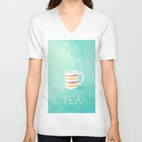 tea V-neck T-shirts featuring Tea by Freeminds
