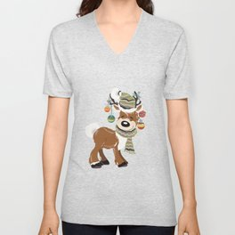 Christmas deer, with baubles in horns. Pretty childish design Unisex V-Neck