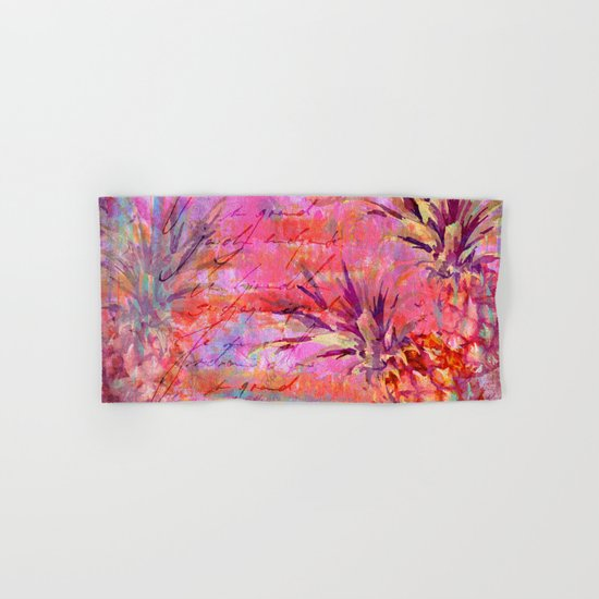 Tropical Pineapple pink abstract illustration art Hand & Bath Towel