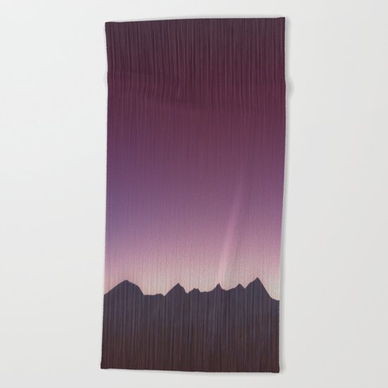 Pink mountains Beach Towel