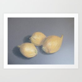Onions in the kitchen painting with pastels Art Print