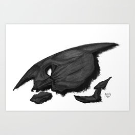 The broken cowl of B-Man Art Print