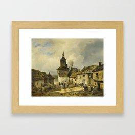 GUÉ, JULIEN MICHEL 1789 San Domingo - 1843 Paris , French village landscape Framed Art Print