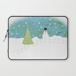 Snowman on Christmas Day Laptop Sleeve
