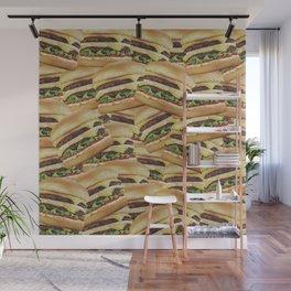 Vintage Cheeseburger Pile Print Wall Mural