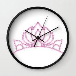 Pink princess crystal crown. Rhinestones diadem.  Wall Clock
