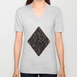 Abstract Gold and Black Musical Fall Leaves Unisex V-Neck