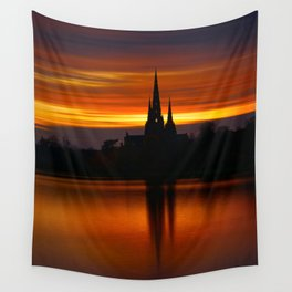 Fiery Sunset Reflection At The The Lichfield Cathedral Wall Tapestry