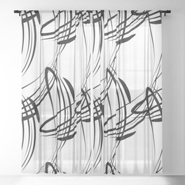 Monochrome pattern lines for decoration in Victorian style on a white background. Sheer Curtain