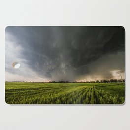 Beautiful Storm - Tornado Emerges From Rain Over Wheat Field in Kansas Cutting Board