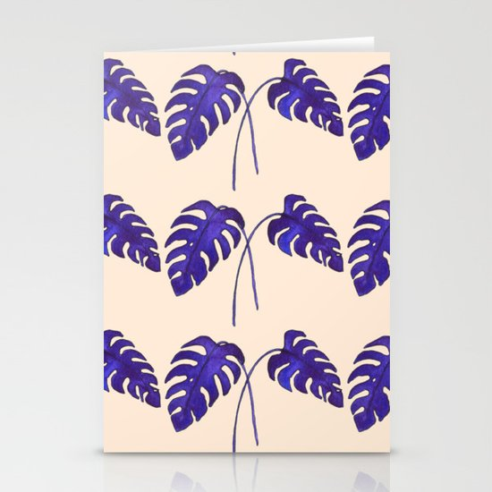 Indigo Monstera Leaf Watercolor on Blush Stationery Cards