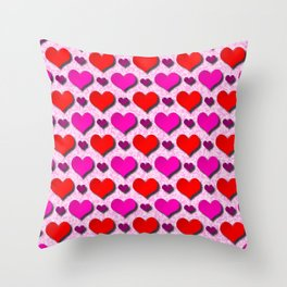 Love Hearts Pattern With Pink Fuzzy Background Throw Pillow