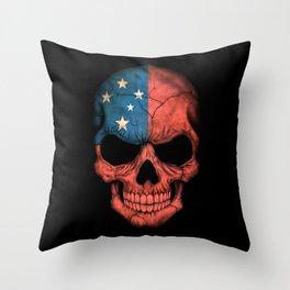 Dark Skull with Flag of Samoa Throw Pillow