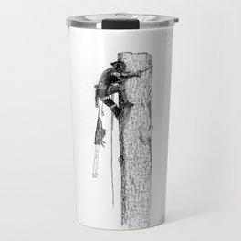 Tree surgeon Arborist using large stihl chainsaw Travel Mug