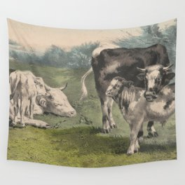 Vintage Cattle Farm Illustration (1856) Wall Tapestry