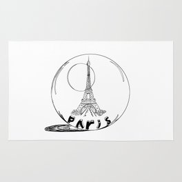 paris in a glass ball . Black-and-white . Art Rug