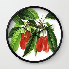 Red Cherries Vector on White Background Wall Clock