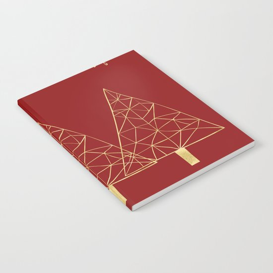 Merry Christmas Red and Gold Notebook