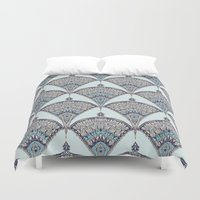 deco Duvet Covers featuring Deco Doodle in Aqua, Cream & Navy Blue by micklyn
