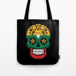 Sugar Skull with Roses and Flag of Lithuania Tote Bag