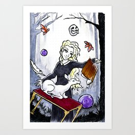 Witch and her white deer familiar/spirit animal Art Print