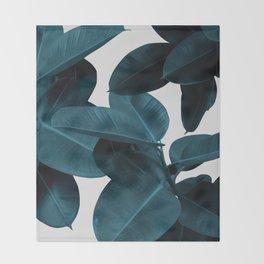 Indigo Blue Plant Leaves Throw Blanket