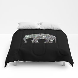 Sparkly colourful silver mosaic Elephant Comforters