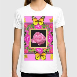 DECORATIVE ORNATE YELLOW BUTTERFLIES & PINK PEONY FLORAL VIGNETTE T-shirt