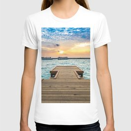 Wooden Jetty At Dusk Ultra HD T-shirt