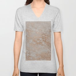 Rose Gold Copper Glitter Metal Foil Style Marble Unisex V-Neck