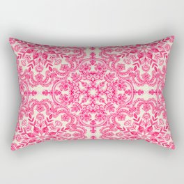 Hot Pink & Soft Cream Folk Art Pattern Rectangular Pillow