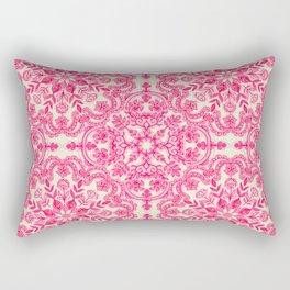 Hot Pink & Soft Cream Folk Art Pattern Rectangular Pillow