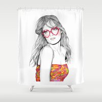 lolita Shower Curtains featuring Lolita by label tania