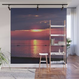 Holes in the Clouds, sunset on the water Wall Mural