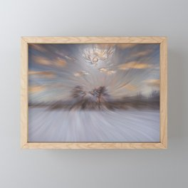 Abstract : Snow and clouds Framed Mini Art Print