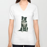 border collie V-neck T-shirts featuring border collie by phil art guy