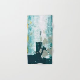 023.2: a vibrant abstract design in teal green and yellow by Alyssa Hamilton Art  Hand & Bath Towel