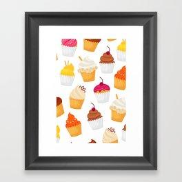 Dulce y sabrosa comida postre cupcake patrón transparente ilustración vectorial Framed Art Print