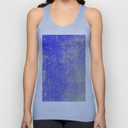 Vibrant Sky Blue & Gold Distressed Texture Unisex Tank Top