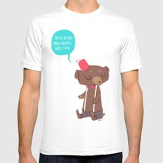 I am a bear now. Bears are cool. MEDIUM White Mens Fitted Tee