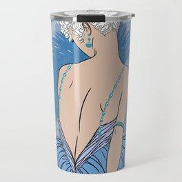 Art Deco Lady with Damask - BIANCA: Blue Monday Travel Mug
