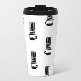 Aeropress black and white linocut coffee lover cafe kitchen minimal art Travel Mug