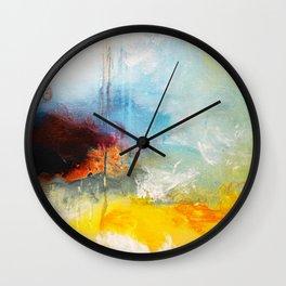 Abstract Blue Gold Digital Art from Original Painting Wall Clock