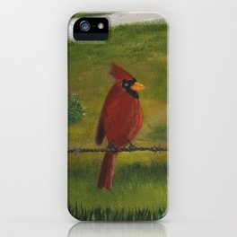 Kevin the cardinal loves to sing his heart out on the farm iPhone Case
