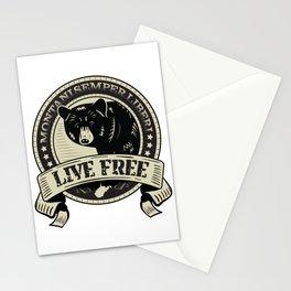 WV Black Bear Live Free T-Shirt Stationery Cards