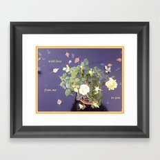 Pink Yellow Rose Photo on Glass Table with Love Framed Art Print