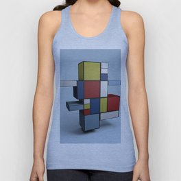 Composition with Red Blue and Yellow Unisex Tank Top