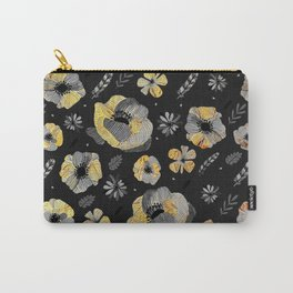 Charcoal & Gold Floral Pattern Carry-All Pouch