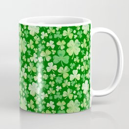 Lucky Green Watercolour Shamrock Pattern Coffee Mug