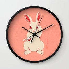 Not so lucky white rabbit Wall Clock